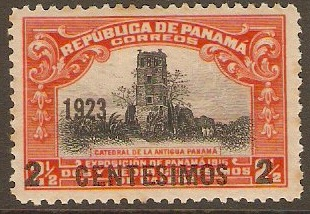 Panama 1923 2c on 2½c Black and red. SG197.