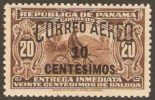 Panama 1929 10c on 20c Brown. SG268.
