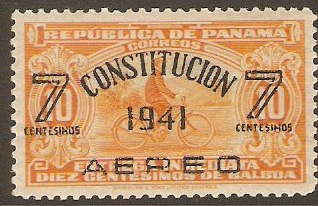 Panama 1941 7c on 10c Orange. SG388.