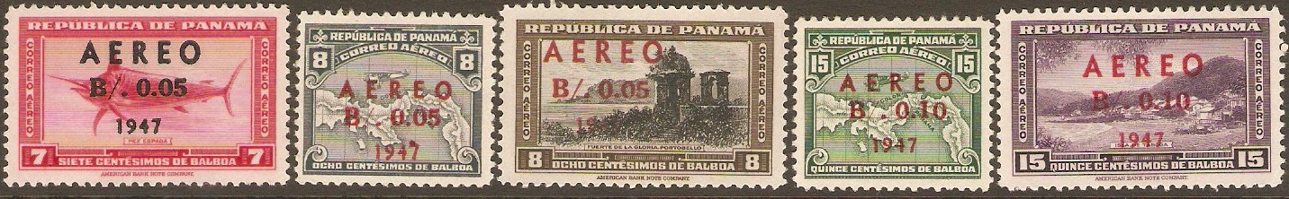 Panama 1947 Surcharges Air Set. SG448-SG452.