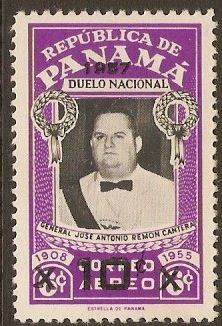 Panama 1957 10c on 6c Black and violet. SG614.