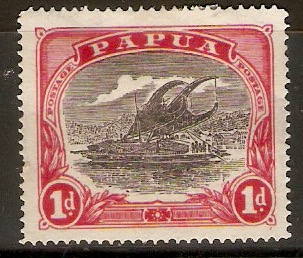 Papua 1916 1d Black and carmine-red. SG94.