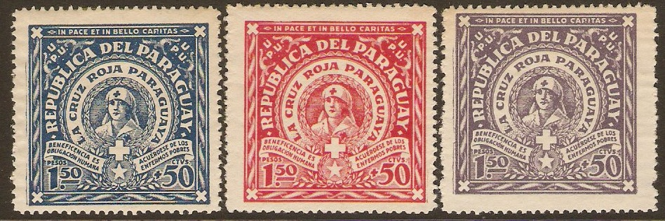 Paraguay 1930 Red Cross Stamps. SG383-SG385.