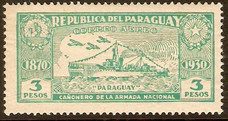 Paraguay 1931 3p Blue-green. SG401.