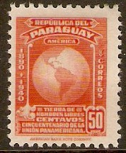 Paraguay 1940 50c Red-orange - Pan-American Union series. SG544.