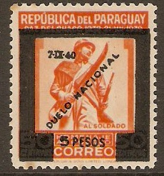 Paraguay 1940 5p on 50c Orange. SG556.