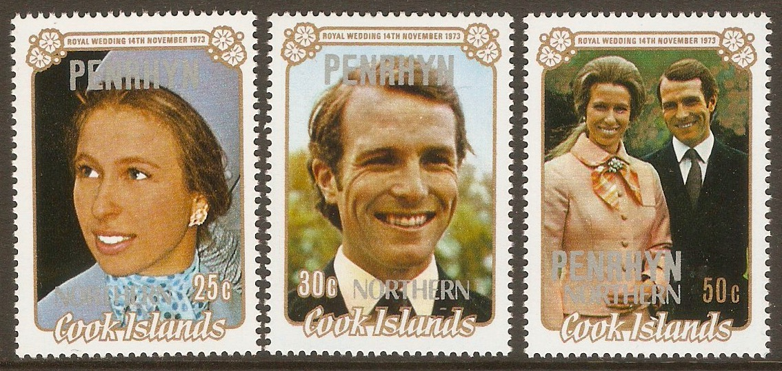 Penrhyn Island 1973 Royal Wedding Set. SG53-SG55.