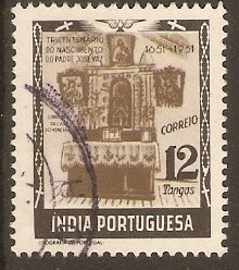 Portuguese India 1951 12t Grey-brown and black. SG605.