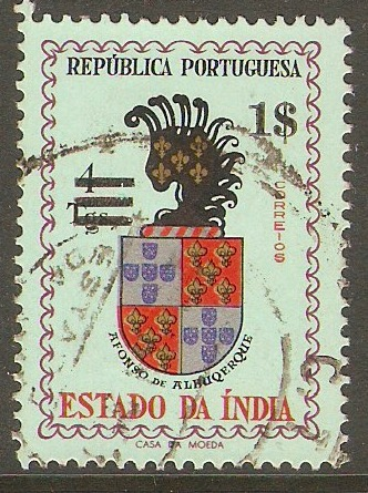 Portuguese India 1959 1E on 4t New Currency series. SG672.