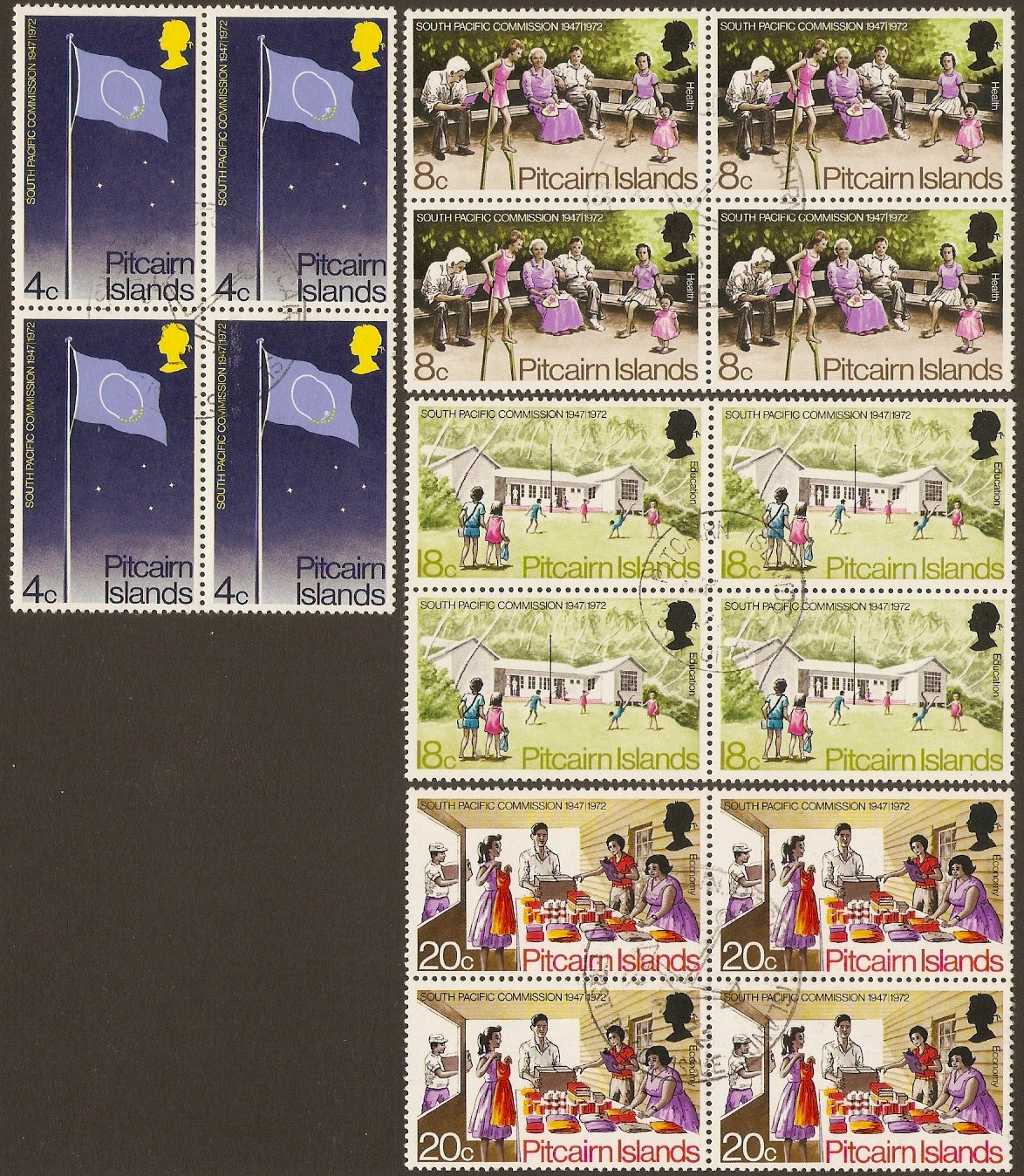 Pitcairn Islands 1972 Pacific Commission Set. SG120-SG123.