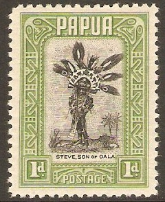 Papua 1932 1d Black and green. SG131.