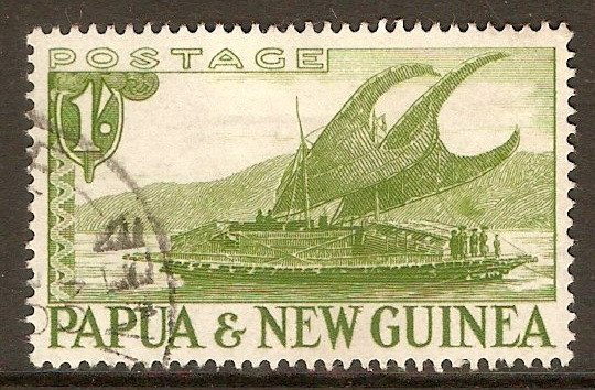 Papua New Guinea 1952 1s Green. SG10.