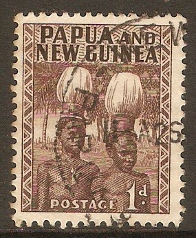 Papua New Guinea 1952 1d Brown. SG2.