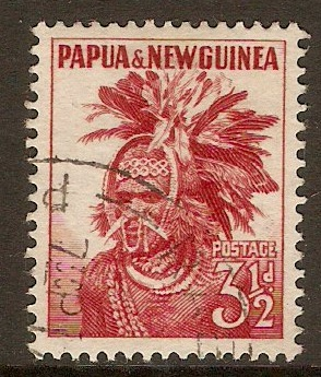 Papua New Guinea 1952 3½d Red. SG6.