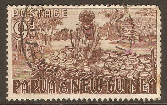 Papua New Guinea 1952 9d Brown. SG9.