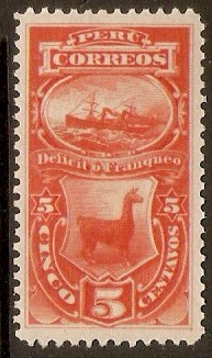 Peru 1874 5c Red - Postage Due. SGD32a.