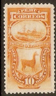 Peru 1874 10c Orange - Postage Due. SGD33a.