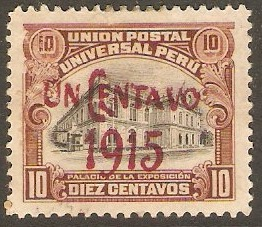 Peru 1915 1c on 10c Black and brown. SG388.