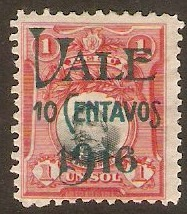 Peru 1916 10c on 1s Blue-black and lake. SG397.