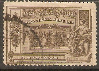 Peru 1921 5c Grey-brown. SG422.