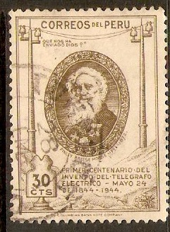 Peru 1944 30c Bistre-brown - Telegraphy series. SG692.