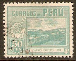 Peru 1945 50c Greenish blue. SG698.