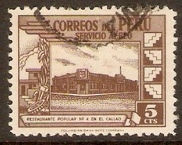 Peru 1945 5c Chocolate - Air series. SG703.