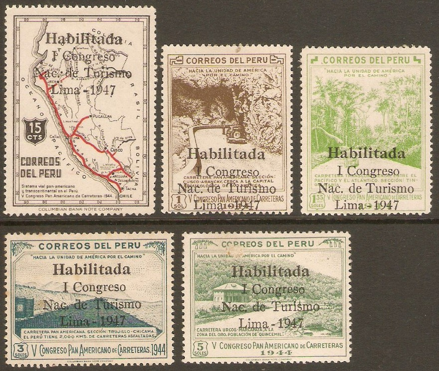 Peru 1947 Tourist Congress set. SG707-SG711.