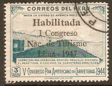 Peru 1947 3s Tourist Congress series. SG710.