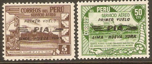 Peru 1947 PIA airline set. SG712-SG713.