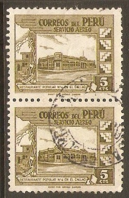 Peru 1951 5c Brown-olive - Air. SG743.