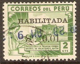 Peru 1951 1c on 2c Dull green. SG755.