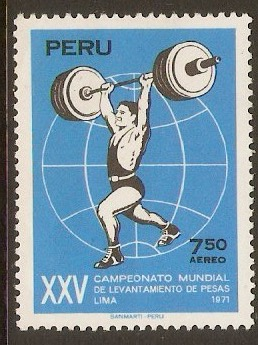 Peru 1971 7s.50 Weightlifting Championships. SG1092.
