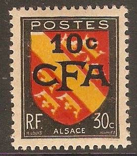 Reunion 1949 10c on 30c Arms of Alsace. SG308.