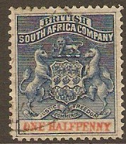 Rhodesia 1892 ½d Deep blue and vermilion. SG19.
