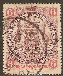 Rhodesia 1896 6d Mauve and pink. SG33.