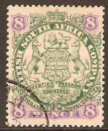 Rhodesia 1896 8d Green and mauve on buff. SG34.