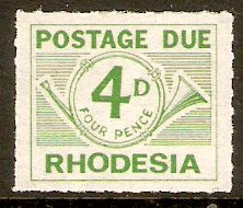 Rhodesia 1965 4d Green-Postage Due. SGD10.