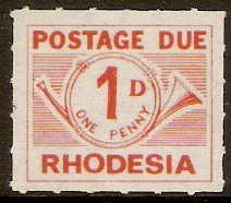 Rhodesia 1965 1d Orange-red-Postage Due. SGD8.