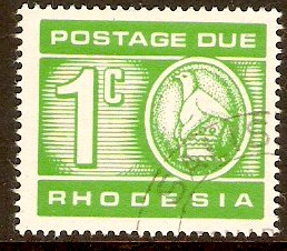 Rhodesia 1970 1c Bright green-Postage Due. SGD18.