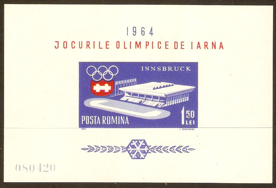 Romania 1963 Winter Olympics sheet. SGMS3077.