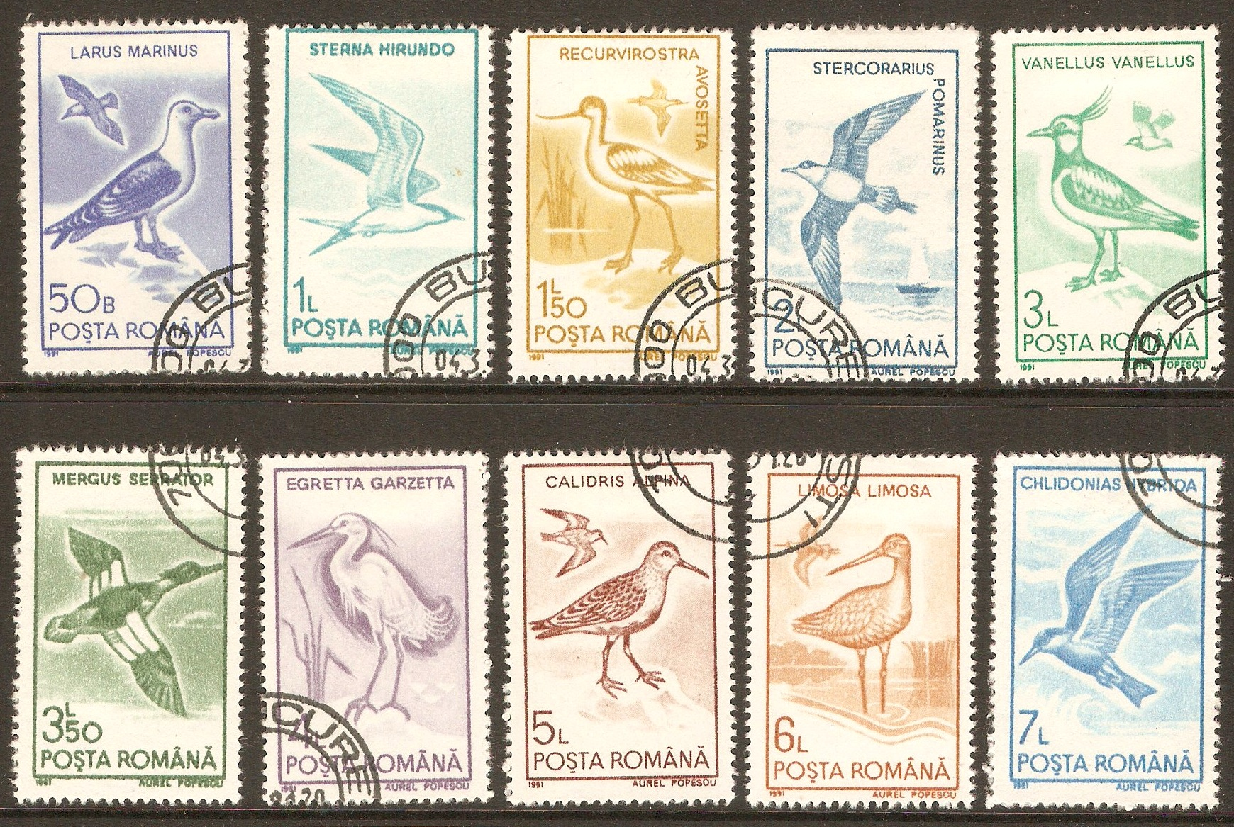 Romania 1991 Water Birds set. SG5323-SG5332.