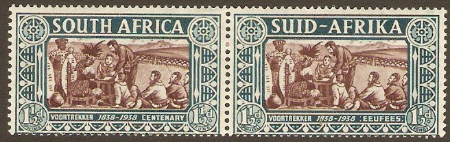South Africa 1938 1½d + 1½d Chocolate and blue and green. SG78.