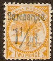 Samoa 1895 1½d on 2d Orange-yellow. SG78.
