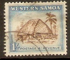 Samoa 1952 1s Sepia and blue. SG226.