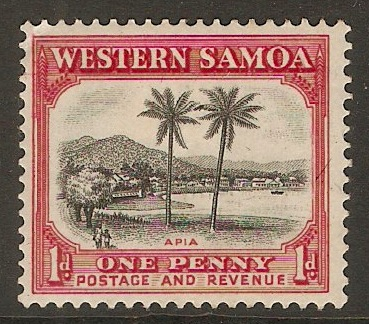 Samoa 1935 1d Black and carmine. SG181.