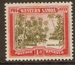 Samoa 1939 1d Olive-green and scarlet. SG195.