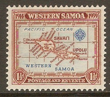 Samoa 1939 1½d Light blue and red-brown. SG196.