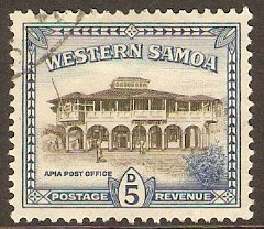 Samoa 1944 5d Sepia and blue. SG205.