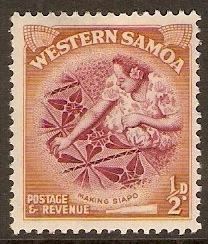 Samoa 1952 ½d Claret and orange-brown. SG219.